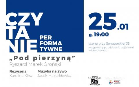 """""""Pod pierzyną"""" Ryszard Marek Groński - czytanie performatywne"""