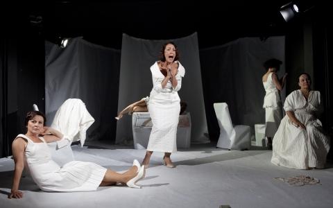 """Spektakl """"One same"""" opowiada o losach pięciu kobiet: Ireny Krzywickiej,  Sophie Tucker, Anny Held, Heleny Rubinstein i Stephanie von Hohenlohe. Spektakl w reżyserii Karoliny Kirsz to produkcja Teatru Żydowskiego w Warszawie."""