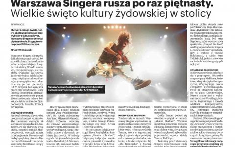 Warszawa Singera rusza po raz 15!